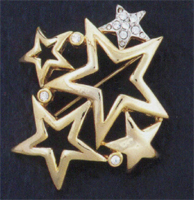 Star Gold with Crystal Pin